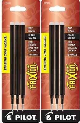 Pack of 6 PILOT Refills for FriXion Erasable Gel Pens Fine Point Black  #77330