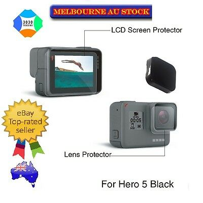 GoPro Hero 6 5 9H Super Hard Tempered-Glass Screen+Lens Protector + Lens Cover