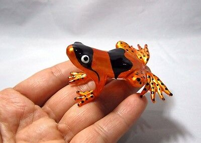 Frog Hand Blown Glass Lampwork Animal Art Miniature Figurine Collectible#43
