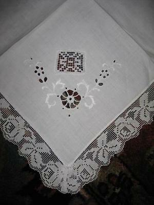 """12 antique Fine LINEN LACE Dinner NAPKINS 19"""" hand Embroidered CUT-WORK Italian"""