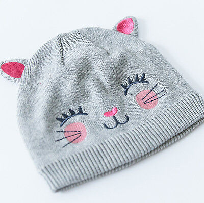 BRAND NEW Baby Girls Toddlers Kitty Cat Beanie Hat with Ears newborn - 4 yrs
