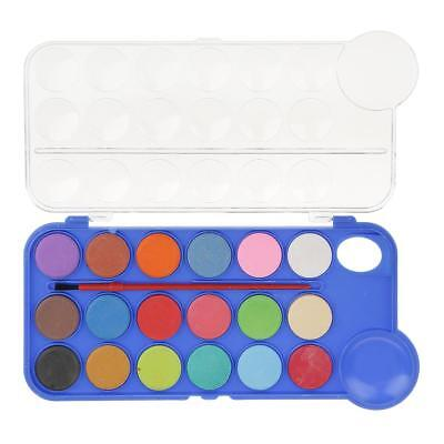 18 Colors Solid Watercolor Cake Brush Paint Pigment Set with Transparent Box