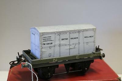 prewar HORNBY O GAUGE flat truck N E with container insul-meat  good [ k2721