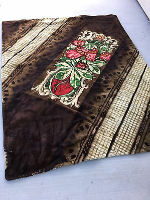 Vintage Chase Horse Hair Carriage Buggy Sleigh Blanket  Wall Rug Roses