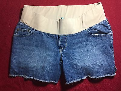 EUC Blue Denim Jean Shorts MATERNITY Band SIZE 8 OLD NAVY Pants with Pockets