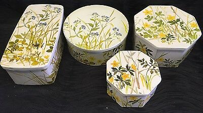 Vintage Lot Of 4 pretty IRA Denmark Floral tins metal containers gifts cookies