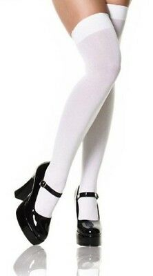 Long White Opaque Costume Socks Thigh High / Over Knee OSFM - Aussie Seller