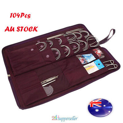104Pcs Stainless Steel Circular Straight Knitting Needles Crochet Hook Weave Kit