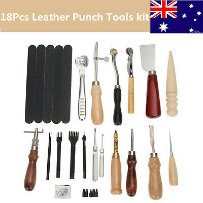 18Pcs Leather Hand Craft Carving Sewing Work Stitching Saddle Groover Punch Tool