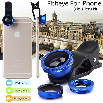 3in1 Clip On Camera Lens Kit Wide Angle Fish Eye Macro For Smart Phone Royal-...