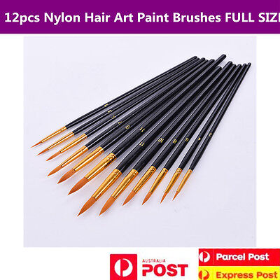 12pcs Wooden Handle Nylon Hair Watercolor Art Painting Brushes Set Full Size