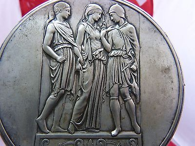 Lovely ART NOUVEAU Silverplate WMF Hand Mirror with a scene from the Greek myth