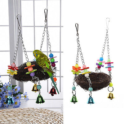 Hanging Nest Stand Rest Perch Swing Toy For Parrot Birds Parakeet Cockatiel