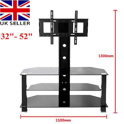 """Panana Glass TV Stand with Bracket for 32"""" - 52"""" Plasma LCD TV Black"""