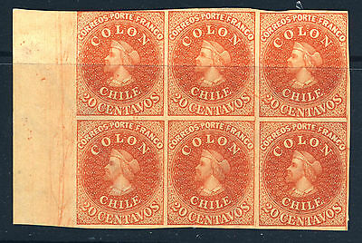 CHILE 1857-1865 20c. COLON  Chile #12  HANN REPRINT BLOCK OF SIX  MINT