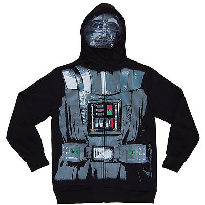 New Youth Boys Star Wars Darth Vader Full-Zip Hoodie/sweatshirt Size Large 14-16