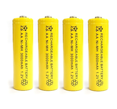 4 X AA 3000 mAh 2A 1.2V Ni-MH Rechargeable Cell Battery Batteries