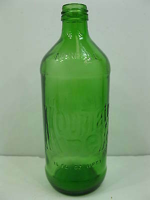 Vintage 16 oz Mountain Dew Green Glass Soda Pop Bottle / Stampinsisters)