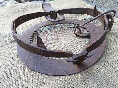 Antique Vintage Wrought Iron Wolf Trap Blacksmith Hand Forged