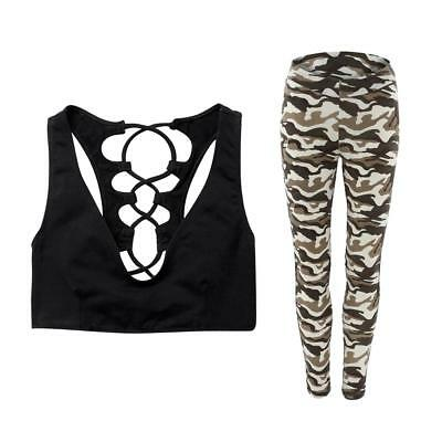 Women Yoga Suits Sport Sets Fitness Clothes for Dancing Gym Camouflage L