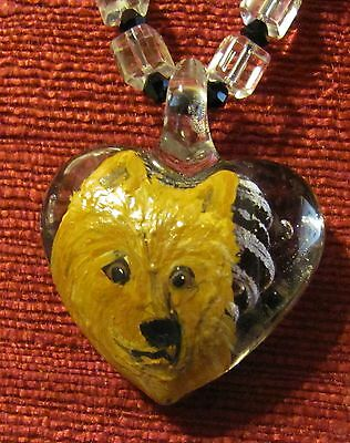 Australian Terrier hand painted on a Murano glass heart shaped pendant/bead/neck
