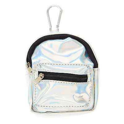 Claire's Accessories  Silver Holographic Mini Backpack Purse Keyring - Brand New