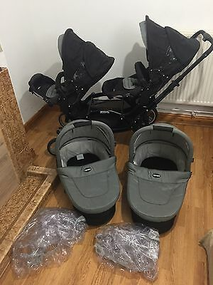 abc zoom tandem DOUBLE PUSHCHAIR WITH CARRY COTS/PRAM/ideal For Twins