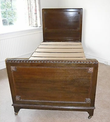 Antique Vintage 1930s-40s Single Bed - Dark Oak with Frame and Sprung base