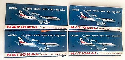 Lot 4 Vintage 1960's National Airline Ticket Holders Graphic Design