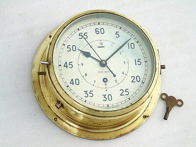 Antique Large Brass Naval Military Ships Mechanical Clock Great Britain Elliott