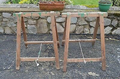 Vintage Pair Wooden Trestles Table Base Legs Reclaimed Wood Carpenters Painting