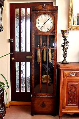 Antique Art Deco Grandfather German DRPa 8-Day Clock with Westminster Chimes