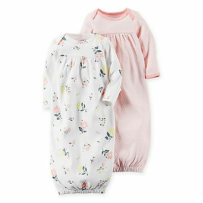 New Carter's 2 Pack Sleep Bag Or Gown size Newborn NWT Gowns Floral Print Girls