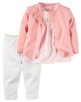 New Carter's Pink Cardigan Pant Shirt Print Top Set NWT NB 3m 6m 9m Outfit Girls