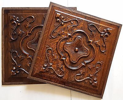 MATCHED PAIR CARVED WOOD PANEL Vintage French salvaged furniture architectural