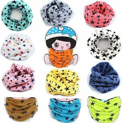 Knitting Winter Stars Boy Girl Unisex Collar Ring Scarves Shawl Cotton Scarf