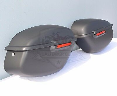 ABS Hard Saddlebags Matte Black w/Mounting Brackets for Harley Dyna & Wide-Glide