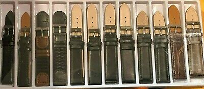 Wholesale Lot Of  12 NEW Mens Leather Watch Bands 2-16MM 5-18MM 3- 20MM 2- 22MM