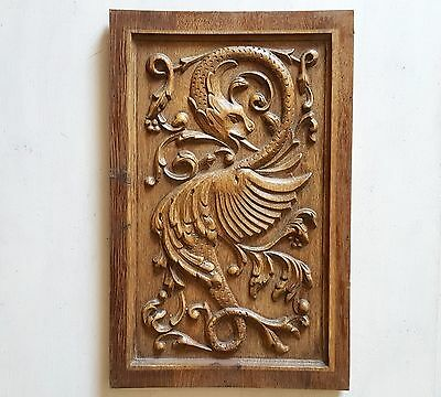 CARVED WOOD GRIFFIN PANEL salvaged furniture architectural