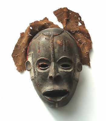 Antique African Tribal Mask Very Old Kuba Cloth