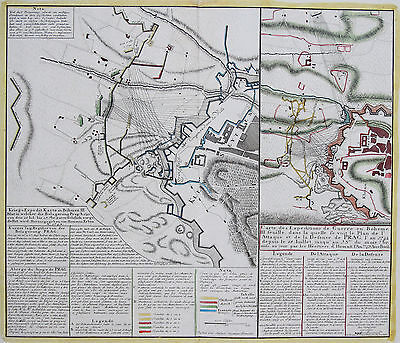 Homann Erben Original Altkol. Copperplate Map Siege Prague Czech Republic 1742