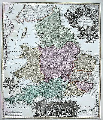 Homann: Old Coloured Original Copperplate Map England Wales Map; um 1720