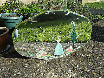 Vintage Original Gorgeous Art Deco Hand Painted Shaped Wall Mirror