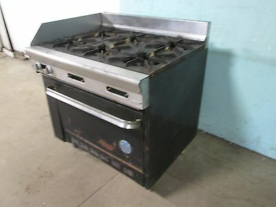 """""""U.S. RANGE PF-6-28A"""" COMMERCIAL HD (NSF) NATURAL GAS 6 BURNERS STOVE w/OVEN"""