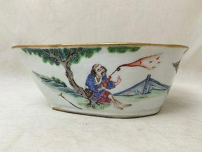 Rare Chinese Famille Rose  Bowl On A Shape Of A Bat Qing Dynasty