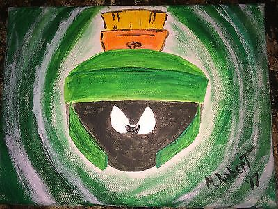 Marvin The Martian Original Pop Art On 9X12 Stretched Canvas
