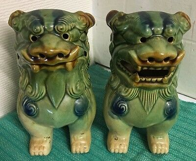 Pair Of Vintage Chinese Foo Dogs Temple Lions Dragons (ref P937)