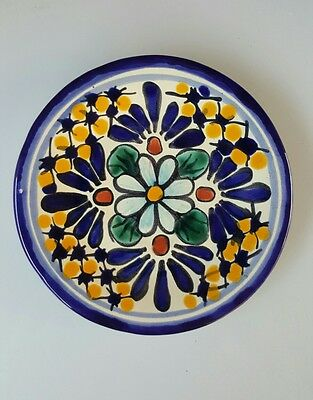 GLAZED TERRACOTTA SERVING PLATE - HAND MADE FROM MEXICO - SMALL (Blue Daisy)