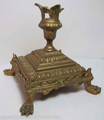 Antique Victorian Candlestick claw footed ornate detail brass bronze gold paint