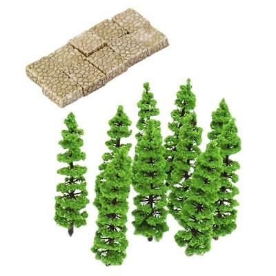 Plastic Park Model Micro Landscape Home Decor Grey Stone with Fir Tree